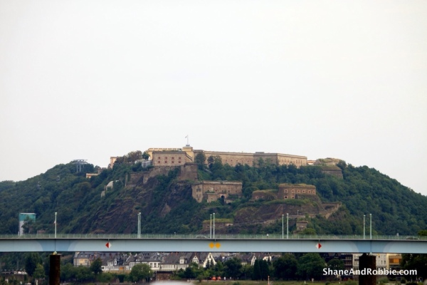 Cruising out of Koblenz, watching Ehrenbreitstein Fortress slowly shrink away.
